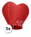 3 wensballonnen in hartvorm rood 100 cm