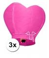 3 wensballonnen in hartvorm roze 100 cm