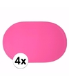 4x fuchsia roze placemats ovaal
