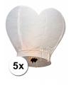 5 wensballonnen in hartvorm wit 100 cm