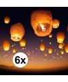 6 x Grote witte wensballon 50 x 100 cm