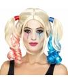 Cosplay Harley look-a-like damespruik met blauw/roze staartjes