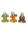 Polystone beeldjes Boeddha 3x