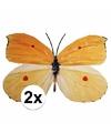 Metalen vlinders decoratie geel/oranje