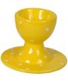 Paasontbijt eierdop geel met witte stippen 9 cm