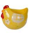 Paasontbijt eierdoppen kip geel 8 cm