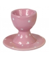 Paasontbijt eierdop roze met witte stippen 9 cm