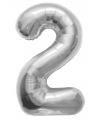 Helium cijfer ballon in zilver 2