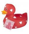Badeend met hartjes rood 25 cm