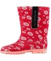 Rode regenlaarzen met vrolijke bloemetjes