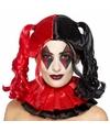 Cosplay Harley look-a-like damespruik met zwart/rode staartjes